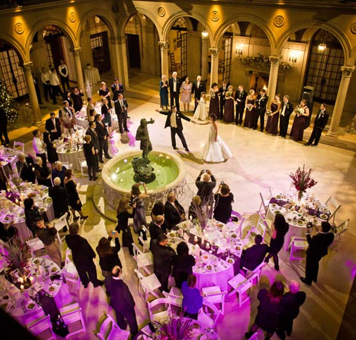Bride & groom's first dance at The Patio at Archmere Academy
