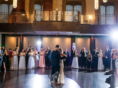 Bride and groom's first dance at the Phoenixville Foundry
