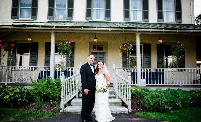 Bride & Groom in front of the Springton Manor