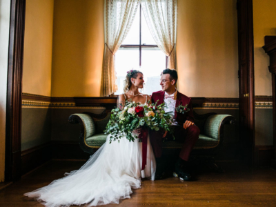 Bride and groom inside the manor house at SMF