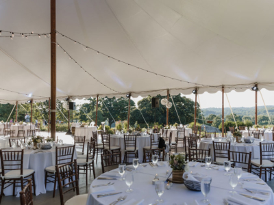 Reception at Springton Manor Farm under the outdoor tent
