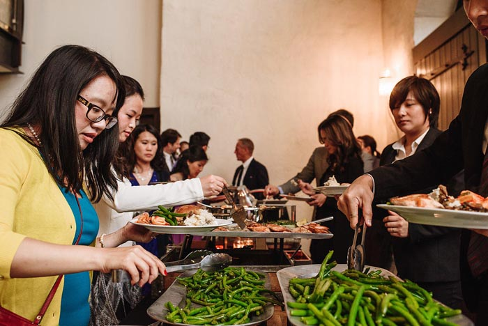 A fantastic buffet at the Chang wedding at Phoenixville Foundry