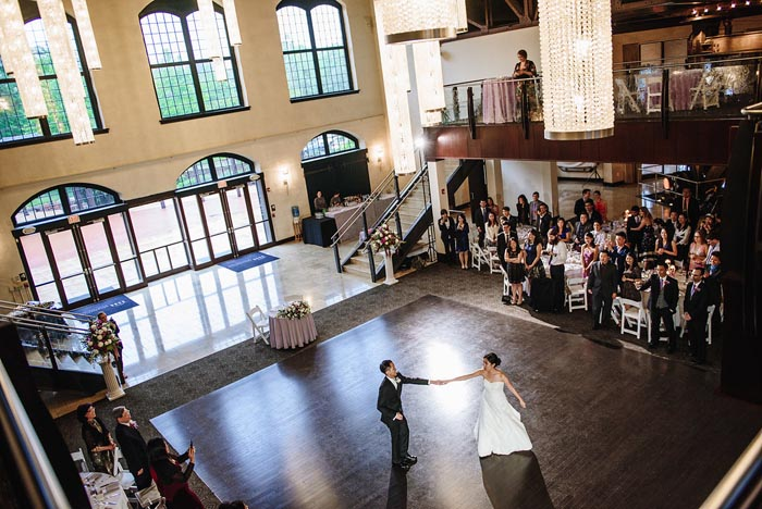 Cupola ballroom dance floor at the Chang Wedding at Phoenixville Foundry