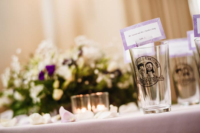 Pint glass favors at the Chang Phoenixville Foundry wedding