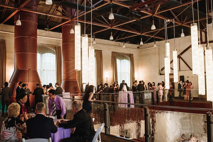 The Phoenixville Foundry interior decorated beautifully for the Chang wedding