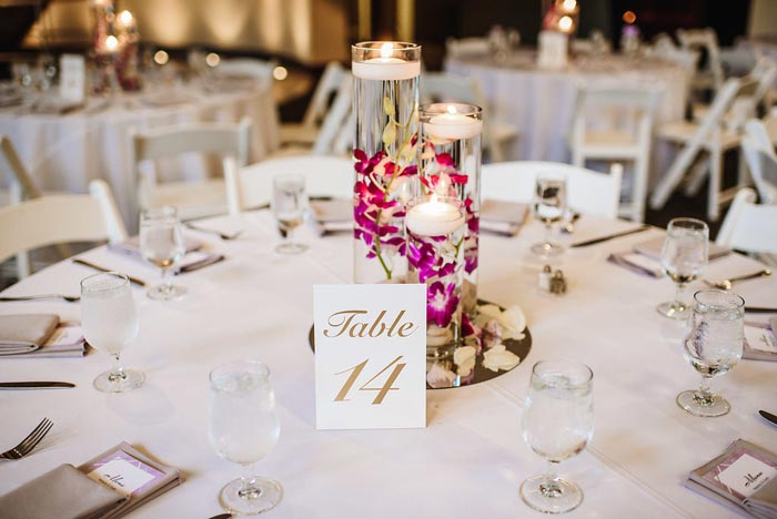The Chang wedding with beautiful floral and candle centerpieces