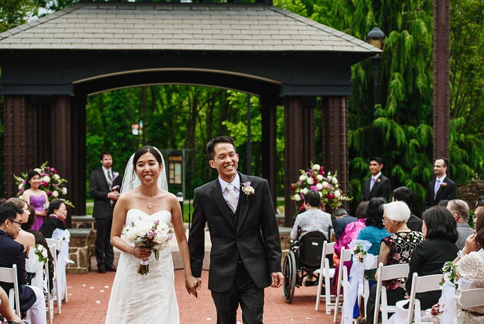 Melinda and Dustin Chang after their Phoenixville Foundry wedding ceremony
