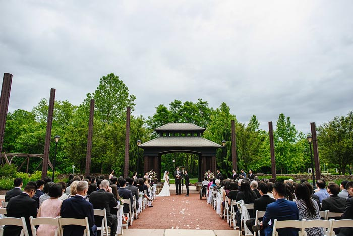 The Chang Wedding at Phoenixville Foundry sculpture garden ceremony