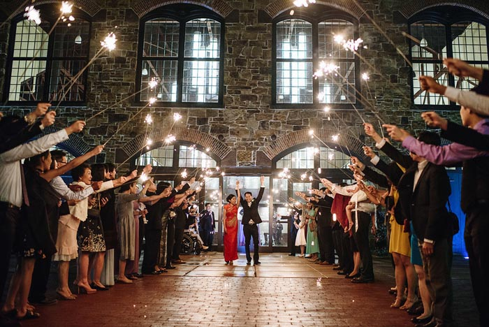 A bright sendoff of sparklers for the Chang wedding at Phoenixville Foundry