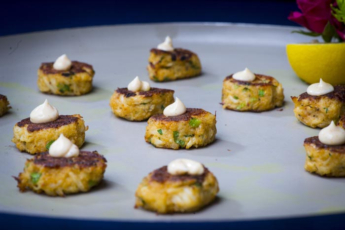 Mini Maryland Lump Crab Cakes served with an Old Bay Remoulade