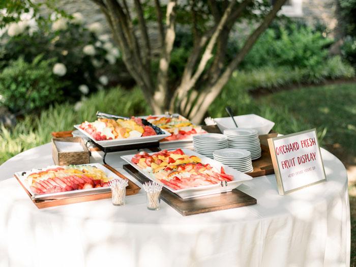 Fruit Salad Display at Brunch Wedding