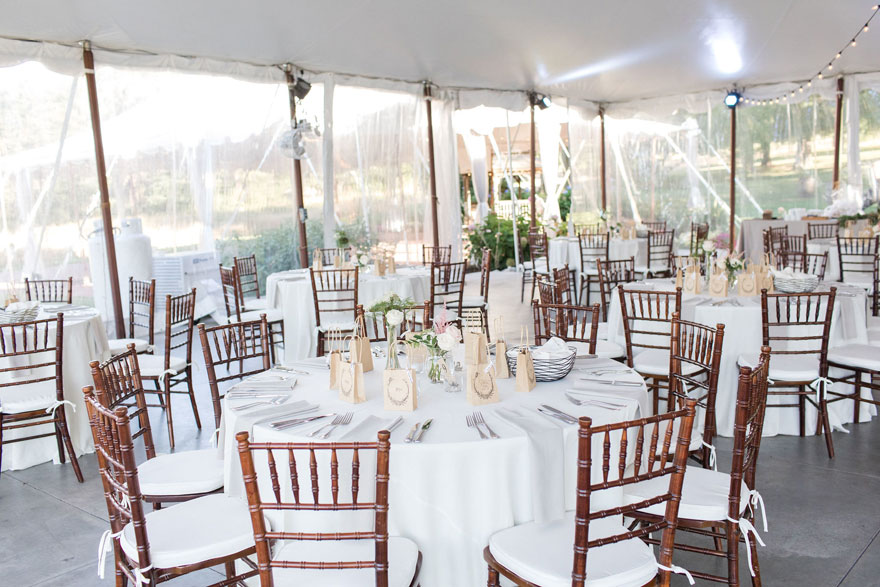 Table Settings Under Tent at Springton Manor Farm Wedding