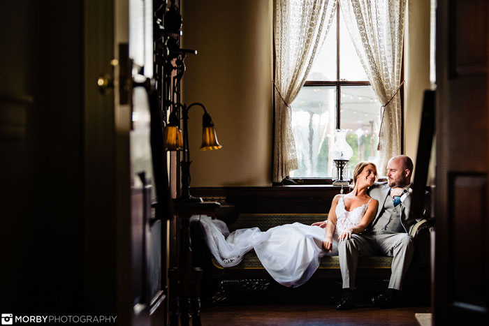 Elegant Bride and Groom in the Manor House at Springton Manor Farms